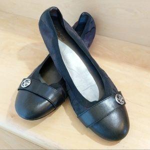 Coach Black Leather Logo Ballet Flats